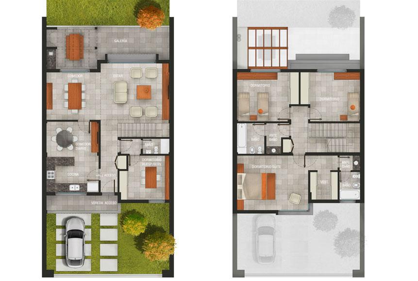 Planos a la obra estilo moderno casa 02 for Fachadas de casas modernas entre medianeras